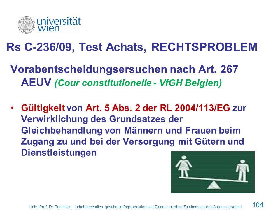 Rs C-236/09, Test Achats, RECHTSPROBLEM