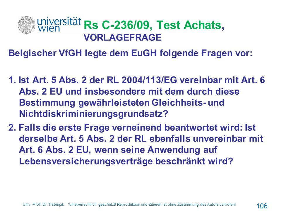 Rs C-236/09, Test Achats, VORLAGEFRAGE