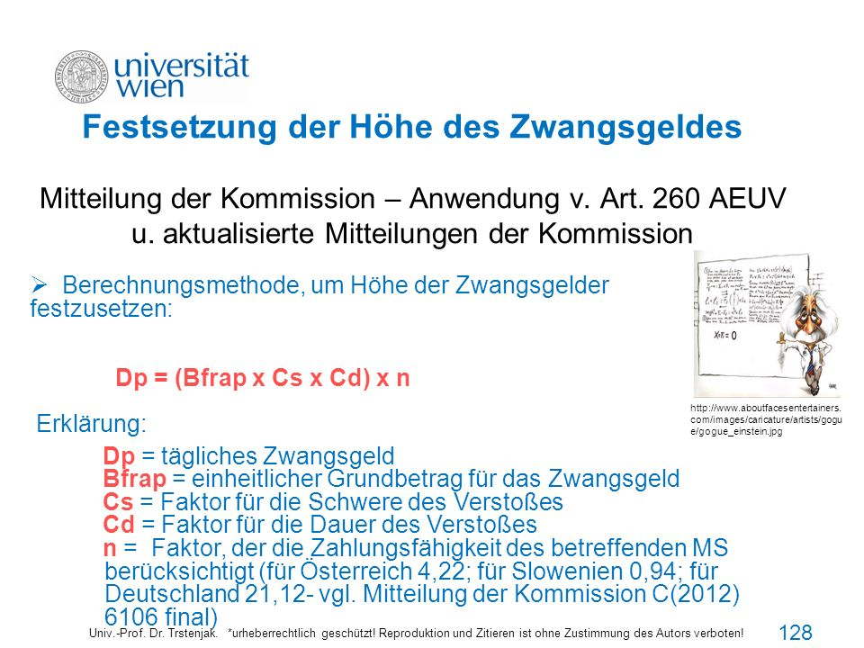 Festsetzung der Höhe des Zwangsgeldes Mitteilung der Kommission – Anwendung v. Art. 260 AEUV u. aktualisierte Mitteilungen der Kommission