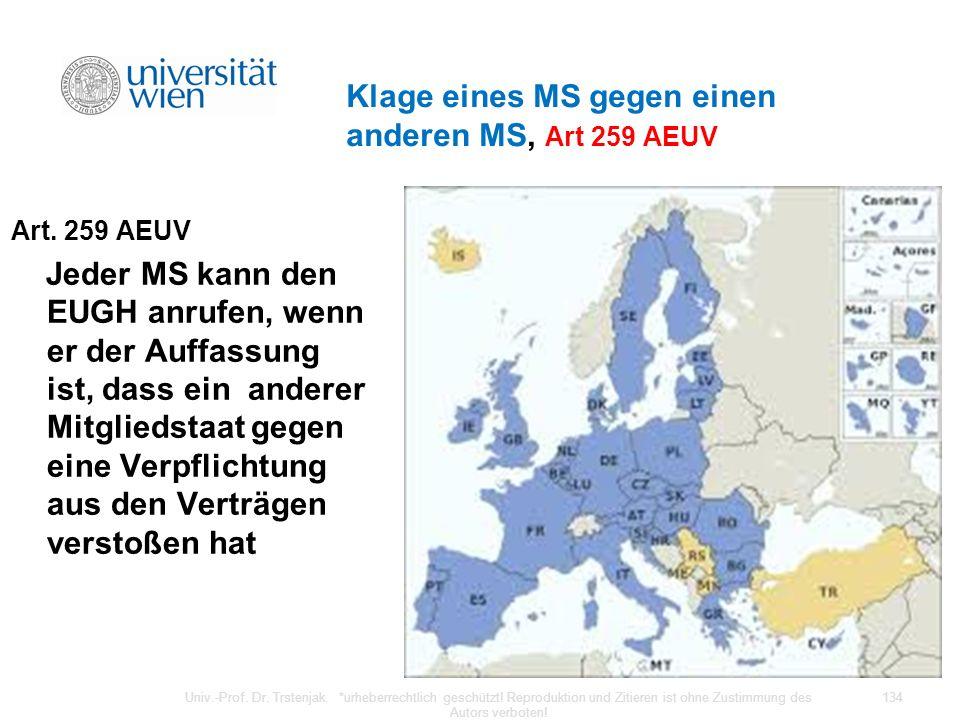 Klage eines MS gegen einen anderen MS, Art 259 AEUV