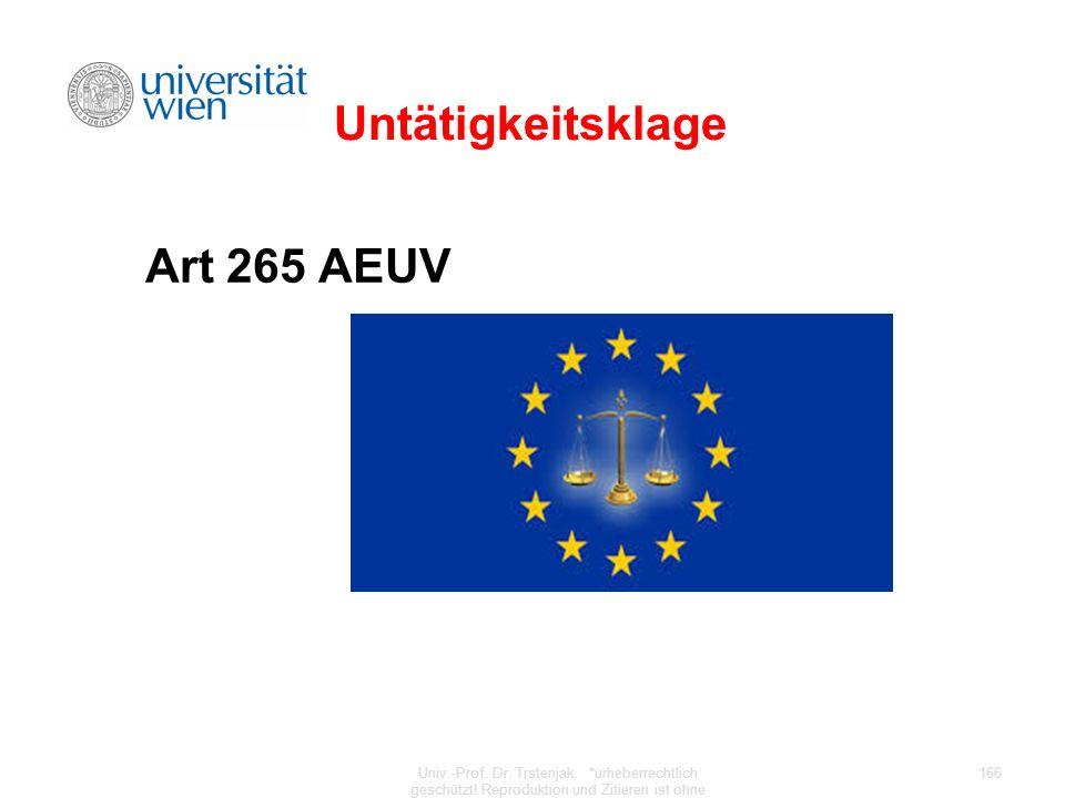 Untätigkeitsklage Art 265 AEUV
