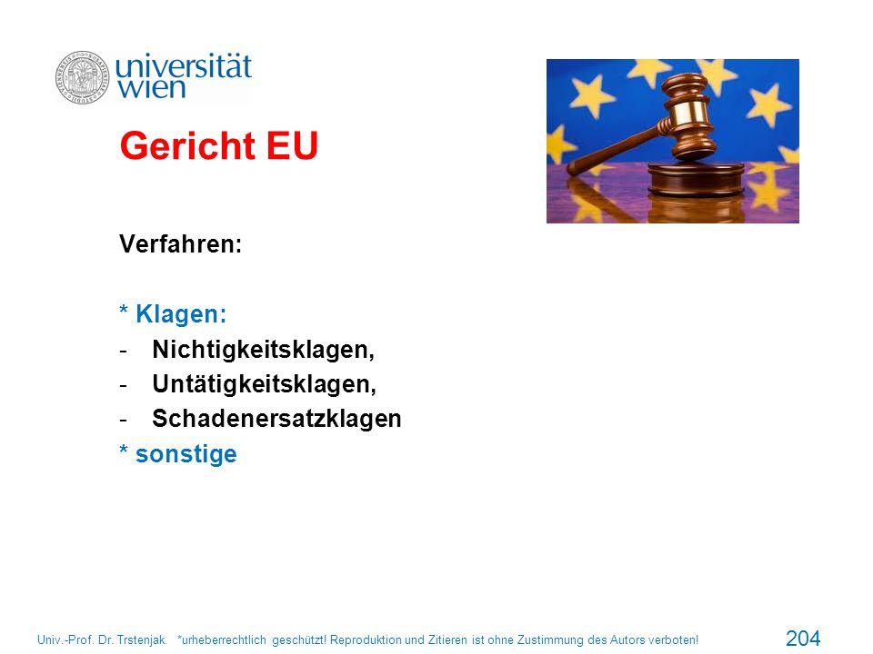 Gericht EU Verfahren: * Klagen: Nichtigkeitsklagen,