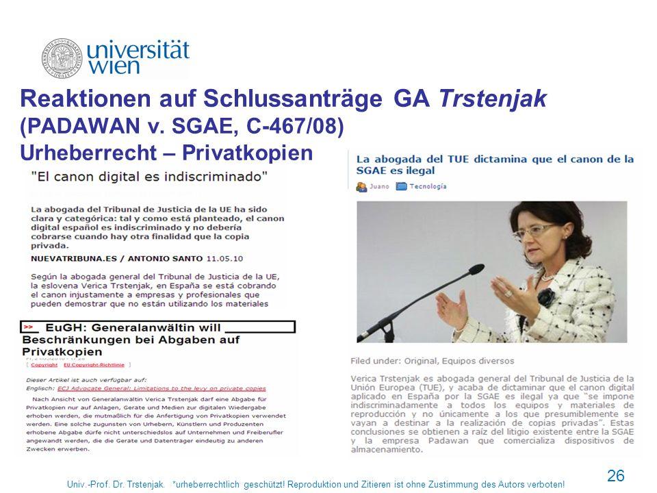 Reaktionen auf Schlussanträge GA Trstenjak (PADAWAN v