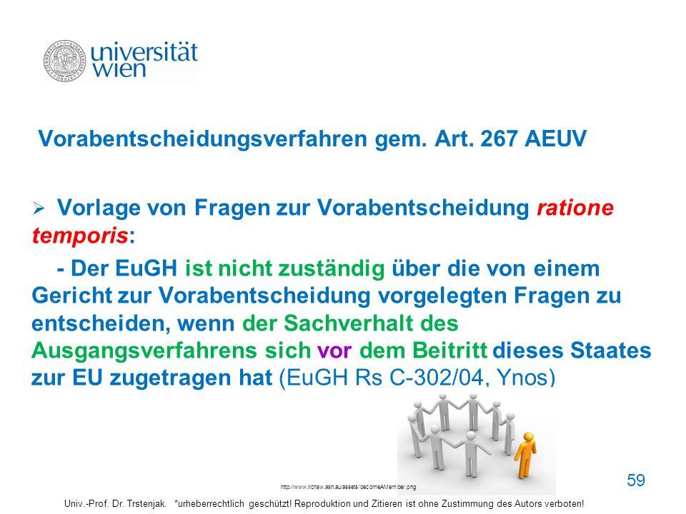 Vorabentscheidungsverfahren gem. Art. 267 AEUV