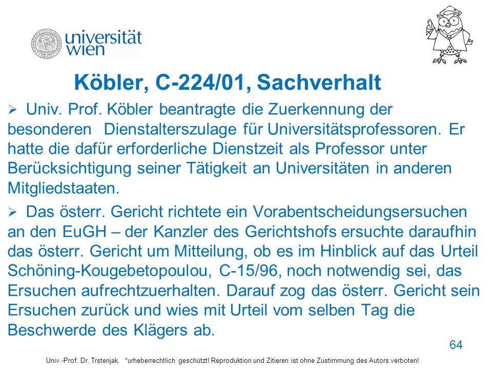 Köbler, C-224/01, Sachverhalt