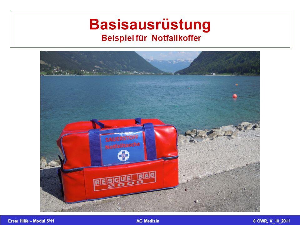 Basisausrüstung Beispiel für Notfallkoffer