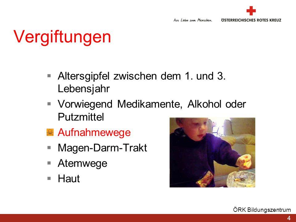 Vergiftungen Altersgipfel zwischen dem 1. und 3. Lebensjahr