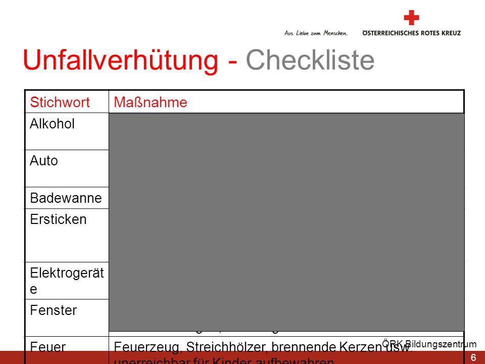 Unfallverhütung - Checkliste