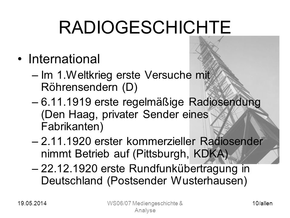 WS06/07 Mediengeschichte & Analyse