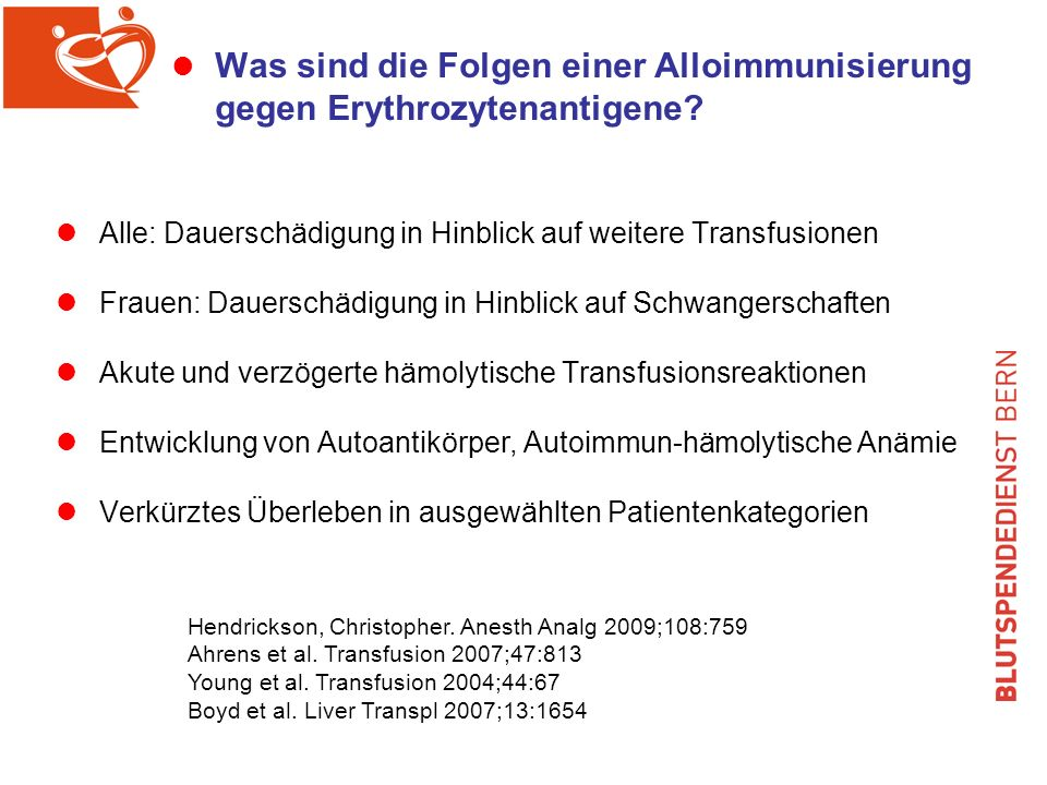 Was sind die Folgen einer Alloimmunisierung gegen Erythrozytenantigene