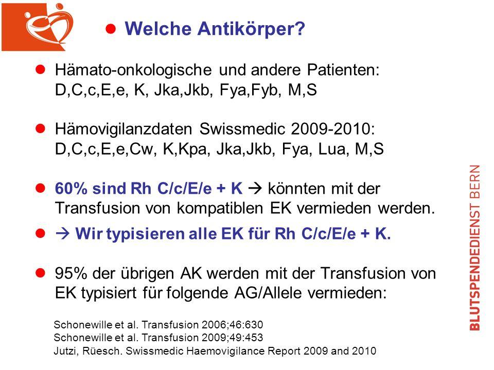 Welche Antikörper Hämato-onkologische und andere Patienten: D,C,c,E,e, K, Jka,Jkb, Fya,Fyb, M,S.