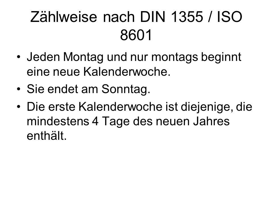Zählweise nach DIN 1355 / ISO 8601