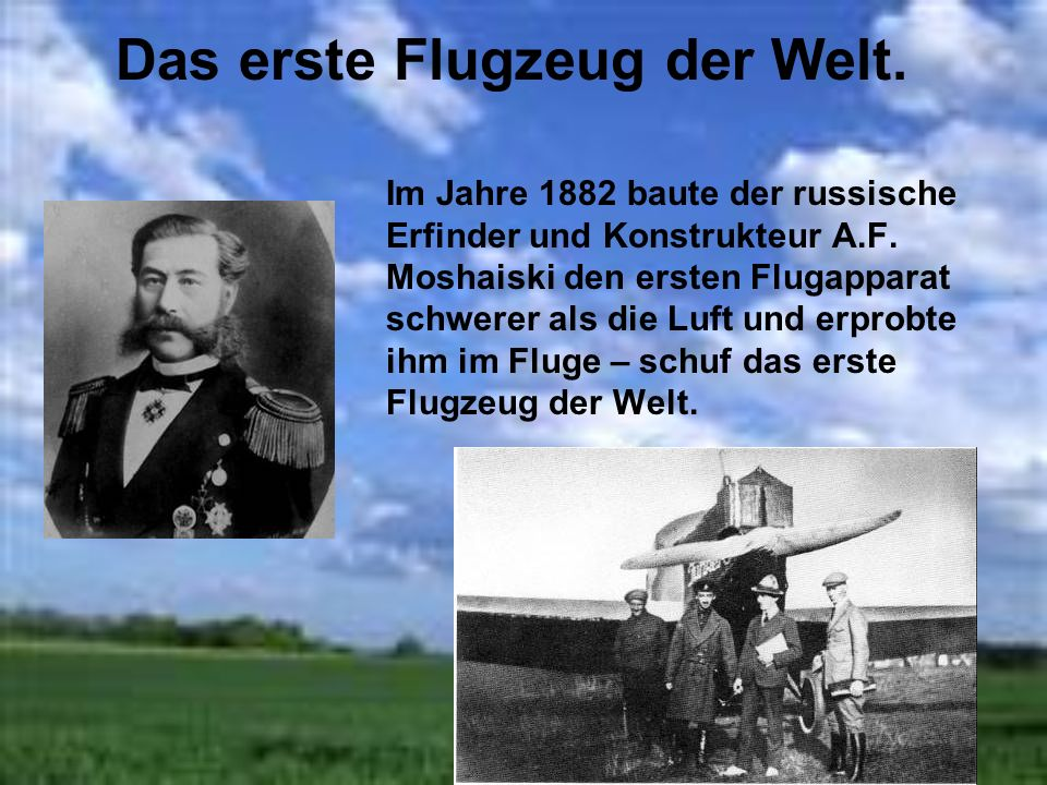 Das erste Flugzeug der Welt.