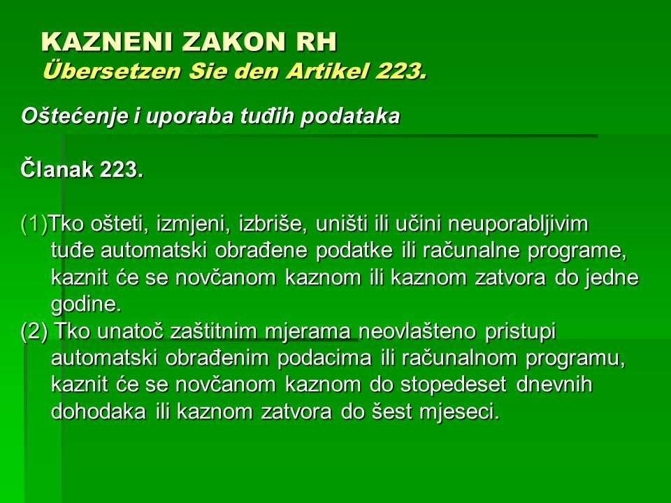 KAZNENI ZAKON RH Übersetzen Sie den Artikel 223.