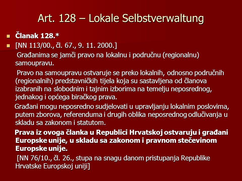 Art. 128 – Lokale Selbstverwaltung