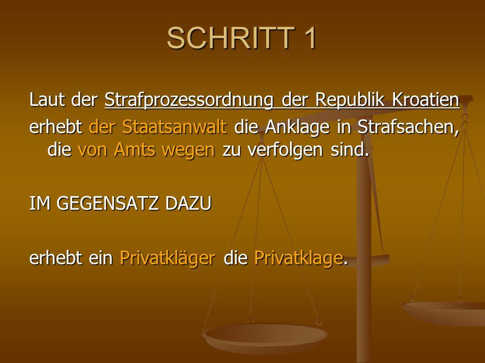 SCHRITT 1 Laut der Strafprozessordnung der Republik Kroatien