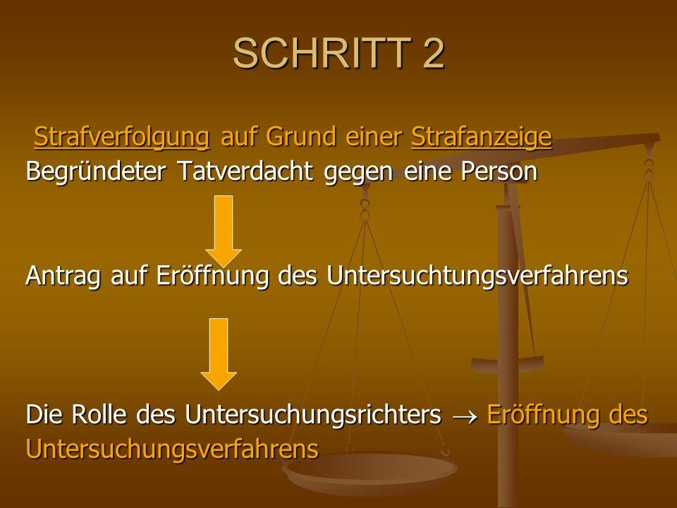 SCHRITT 2 Strafverfolgung auf Grund einer Strafanzeige