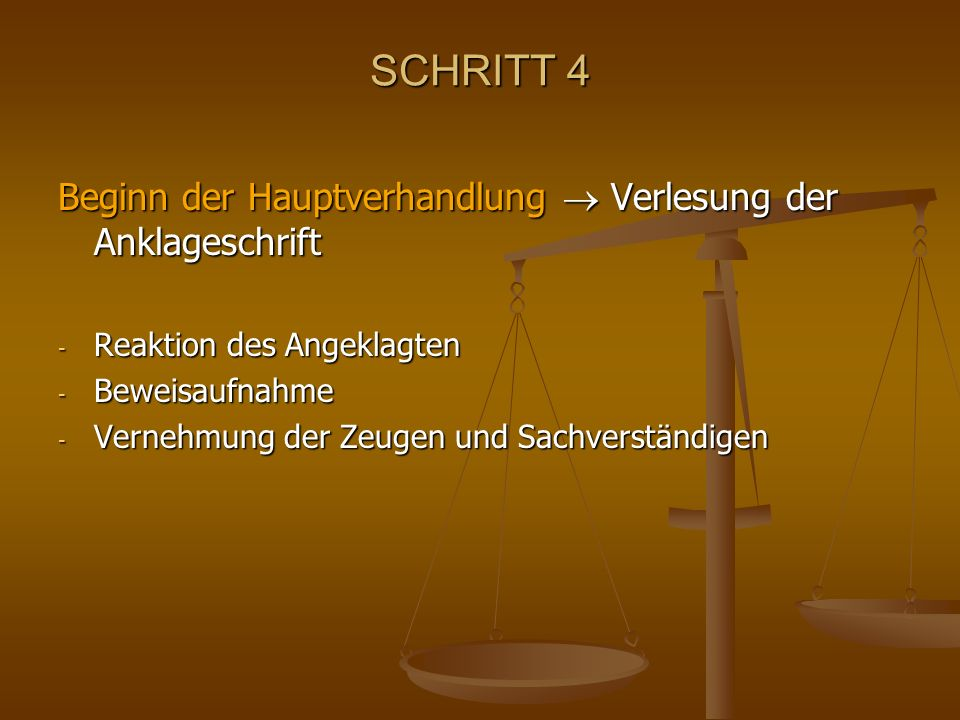 SCHRITT 4 Beginn der Hauptverhandlung  Verlesung der Anklageschrift