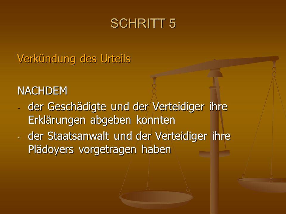 SCHRITT 5 Verkündung des Urteils NACHDEM