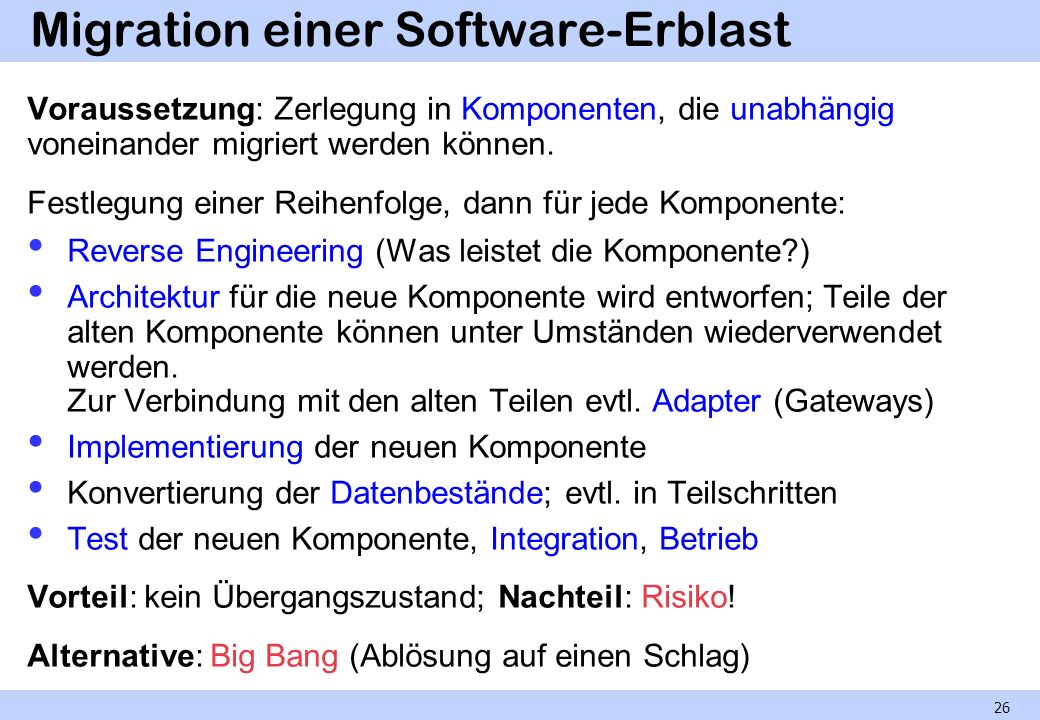 Migration einer Software-Erblast