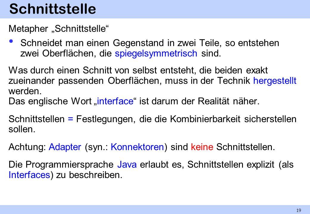 """Schnittstelle Metapher """"Schnittstelle"""