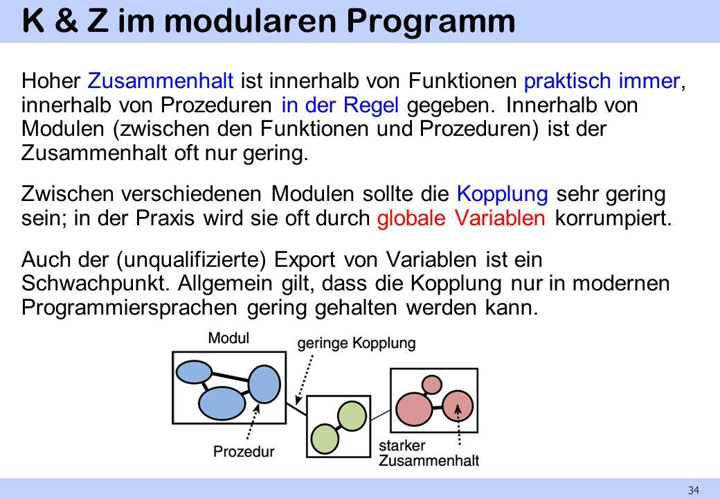 K & Z im modularen Programm