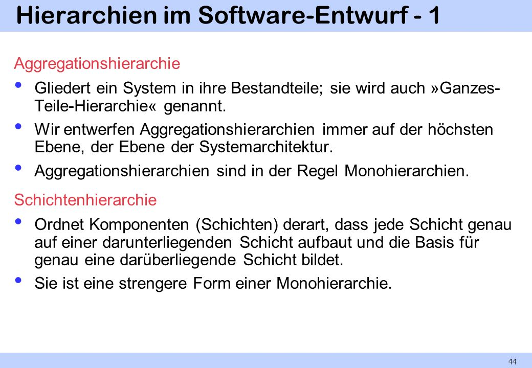 Hierarchien im Software-Entwurf - 1