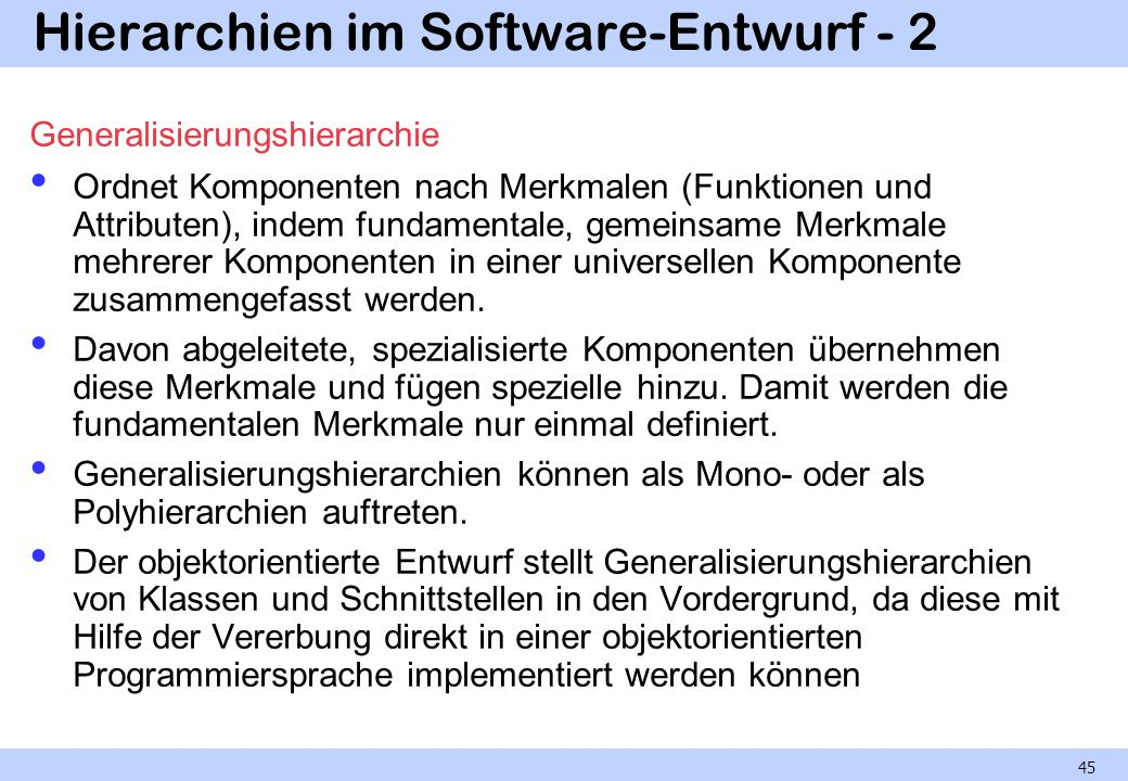 Hierarchien im Software-Entwurf - 2