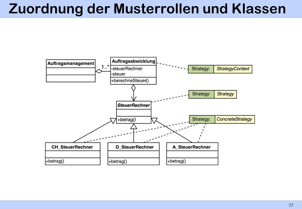 Zuordnung der Musterrollen und Klassen
