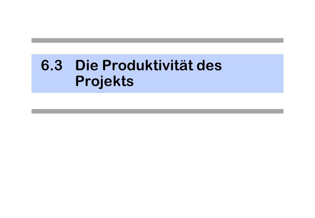 6.3 Die Produktivität des Projekts
