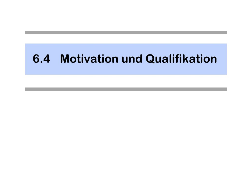 6.4 Motivation und Qualifikation
