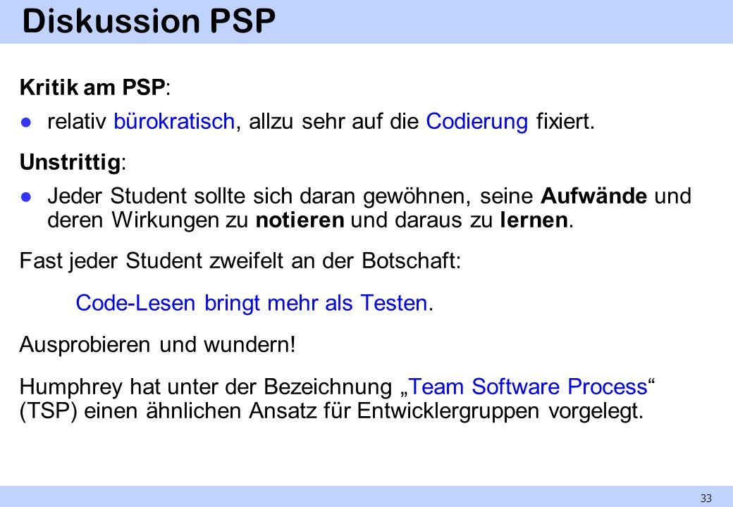 Diskussion PSP Kritik am PSP: