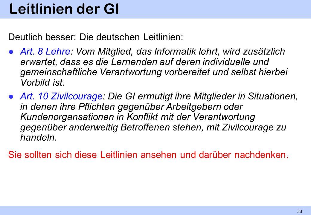 Leitlinien der GI Deutlich besser: Die deutschen Leitlinien: