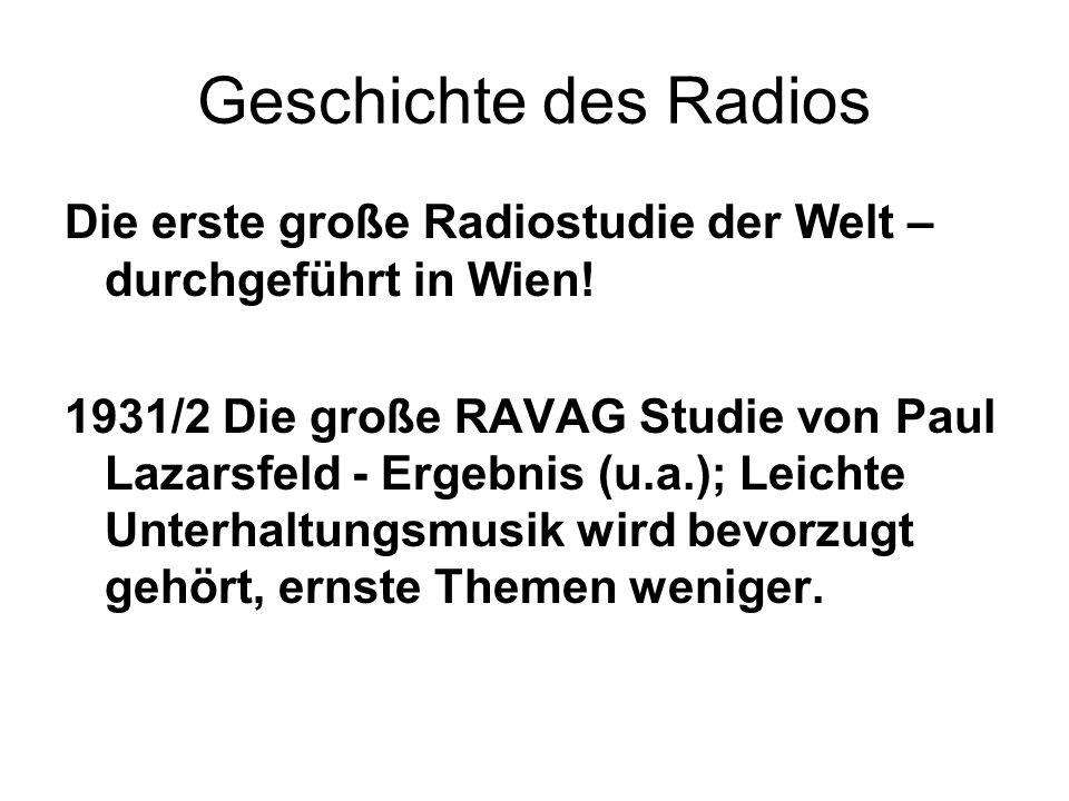 Geschichte des Radios Die erste große Radiostudie der Welt – durchgeführt in Wien!