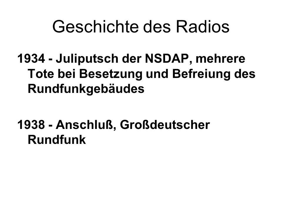 Geschichte des Radios 1934 - Juliputsch der NSDAP, mehrere Tote bei Besetzung und Befreiung des Rundfunkgebäudes.