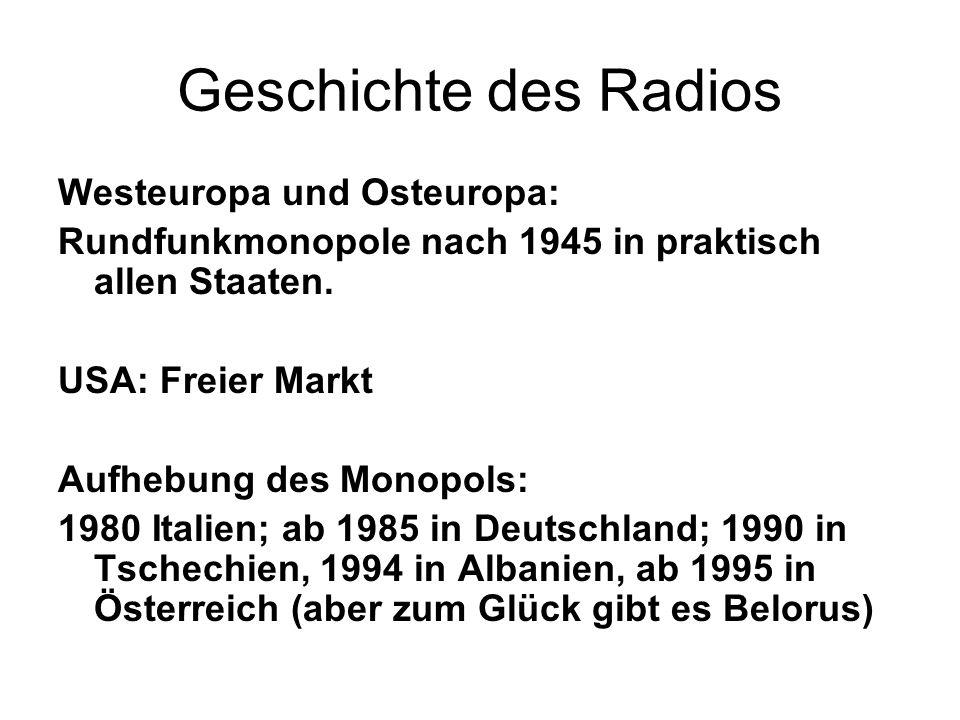 Geschichte des Radios Westeuropa und Osteuropa: