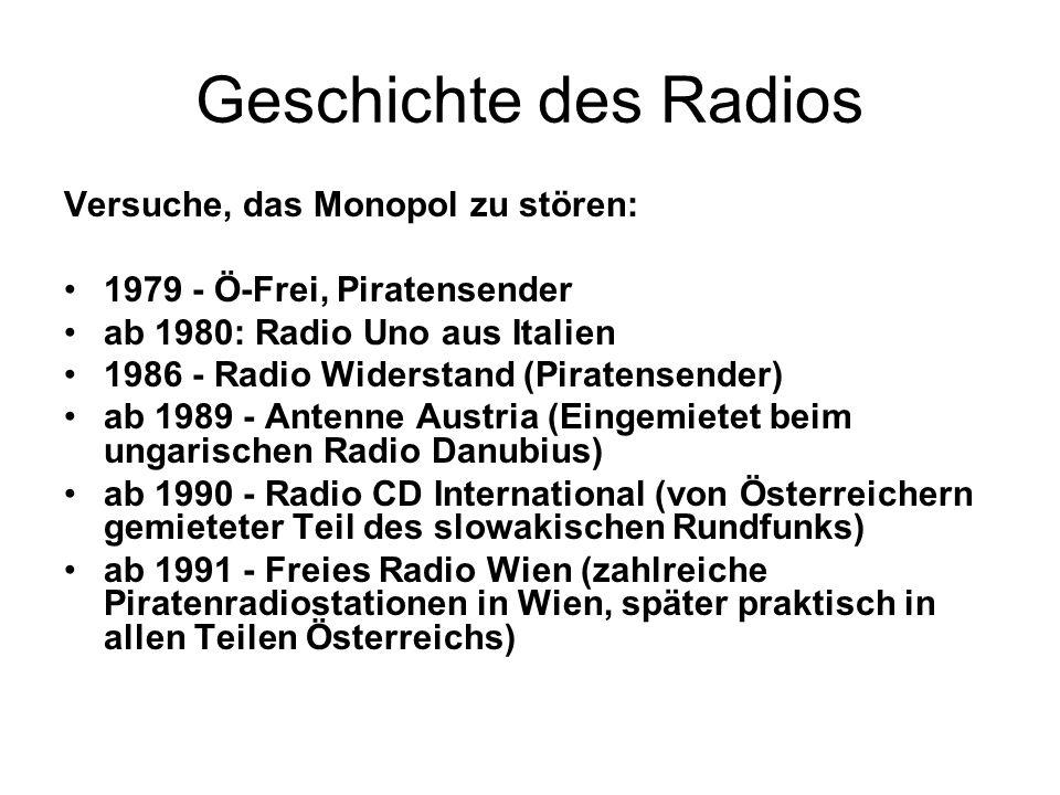 Geschichte des Radios Versuche, das Monopol zu stören: