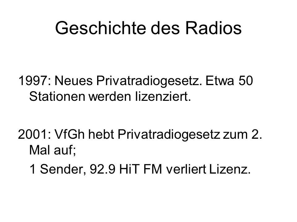 Geschichte des Radios 1997: Neues Privatradiogesetz. Etwa 50 Stationen werden lizenziert. 2001: VfGh hebt Privatradiogesetz zum 2. Mal auf;