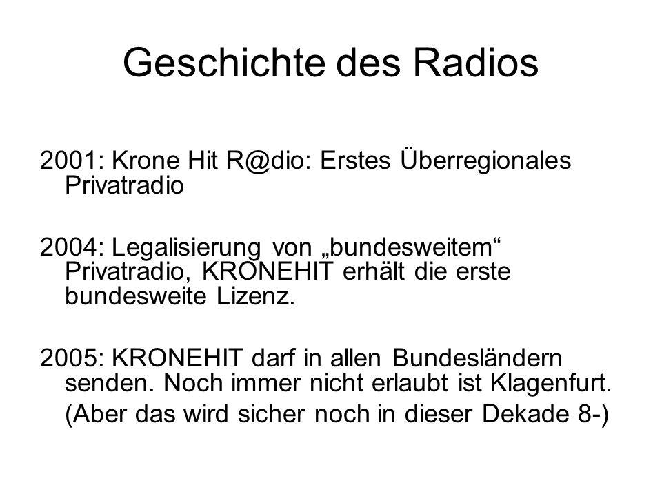 Geschichte des Radios 2001: Krone Hit R@dio: Erstes Überregionales Privatradio.