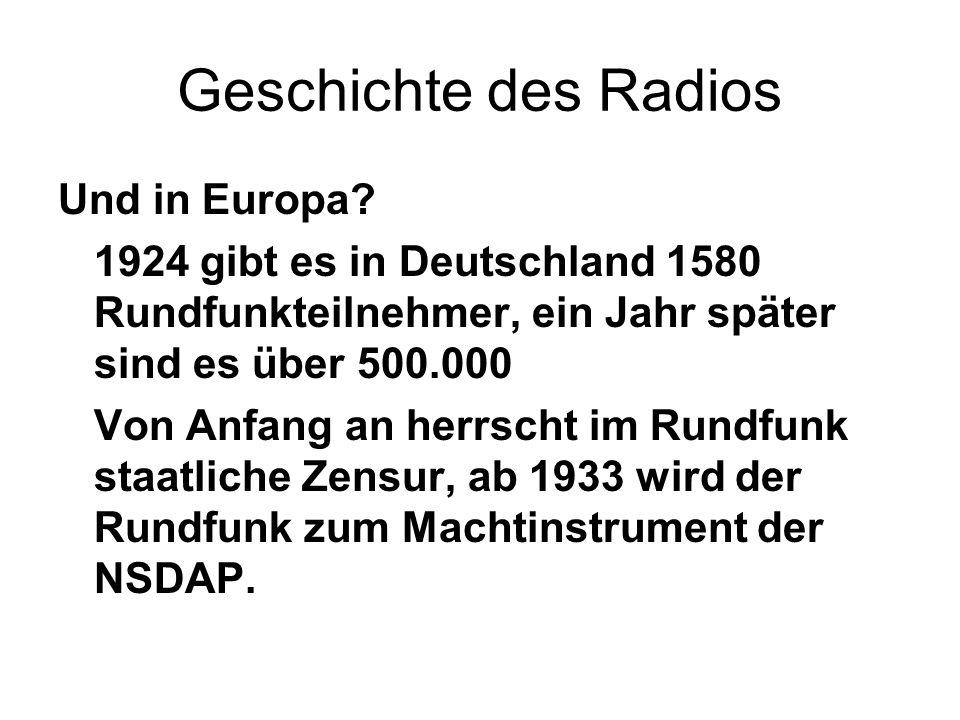 Geschichte des Radios Und in Europa