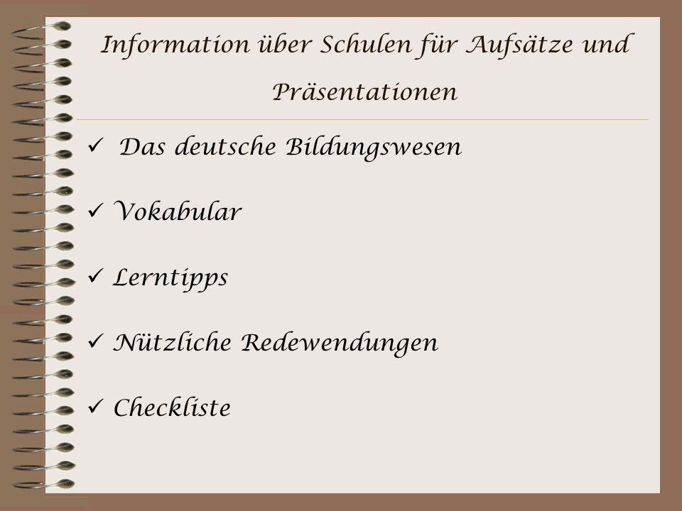 Information über Schulen für Aufsätze und Präsentationen