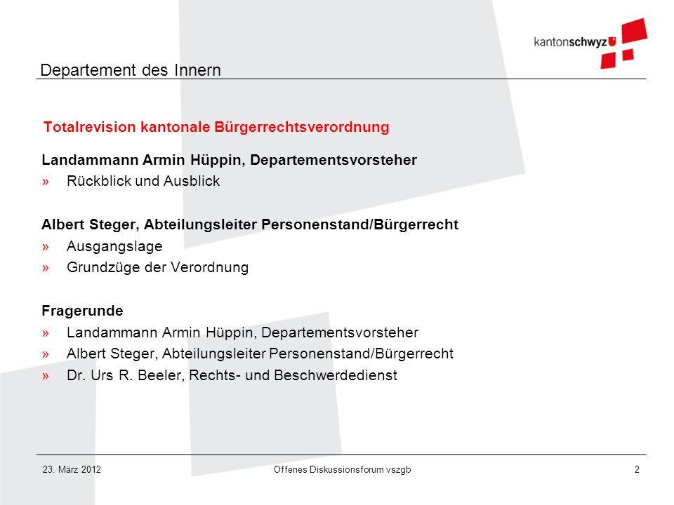 Totalrevision kantonale Bürgerrechtsverordnung