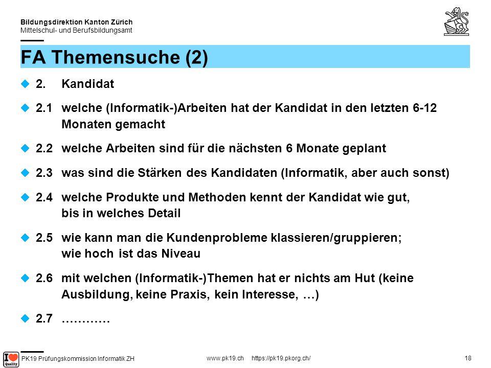 FA Themensuche (2) 2. Kandidat