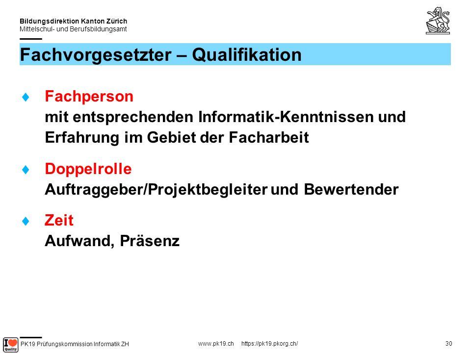 Fachvorgesetzter – Qualifikation