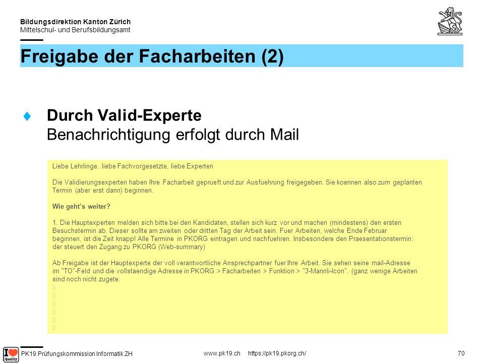 Freigabe der Facharbeiten (2)