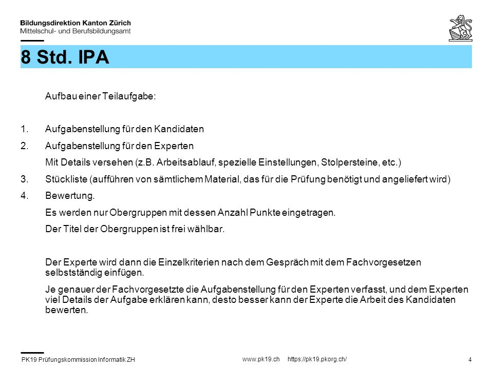 8 Std. IPA Aufgabenstellung für den Kandidaten