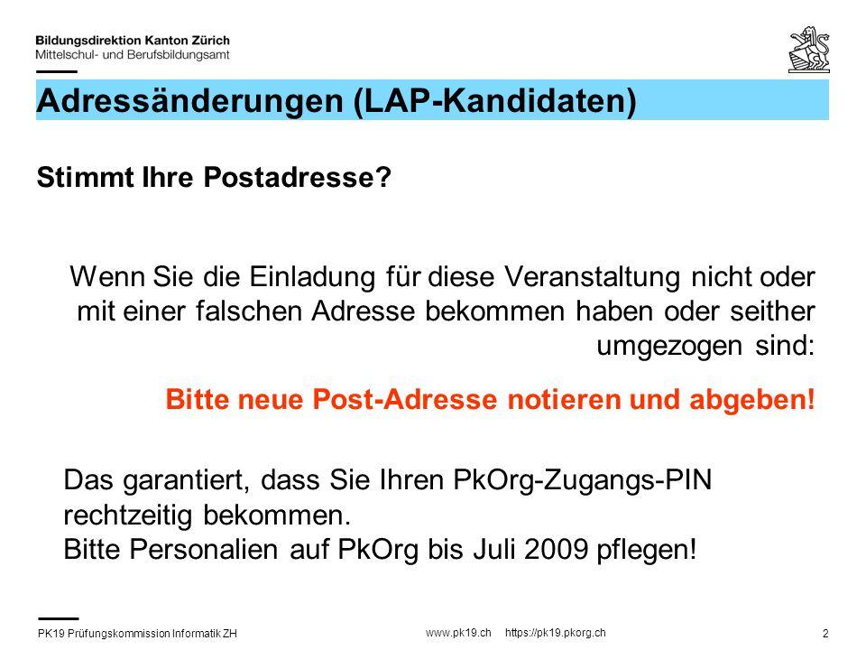 Adressänderungen (LAP-Kandidaten)