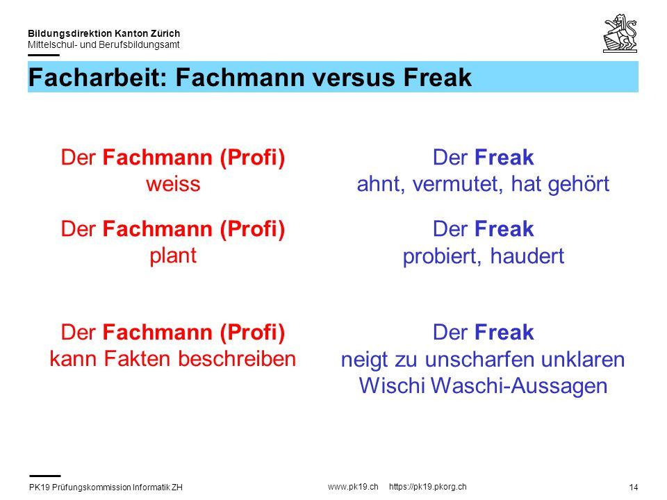 Facharbeit: Fachmann versus Freak