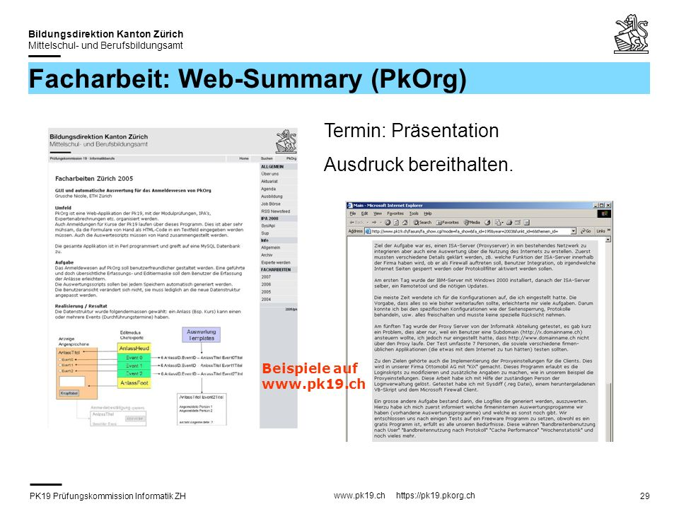 Facharbeit: Web-Summary (PkOrg)
