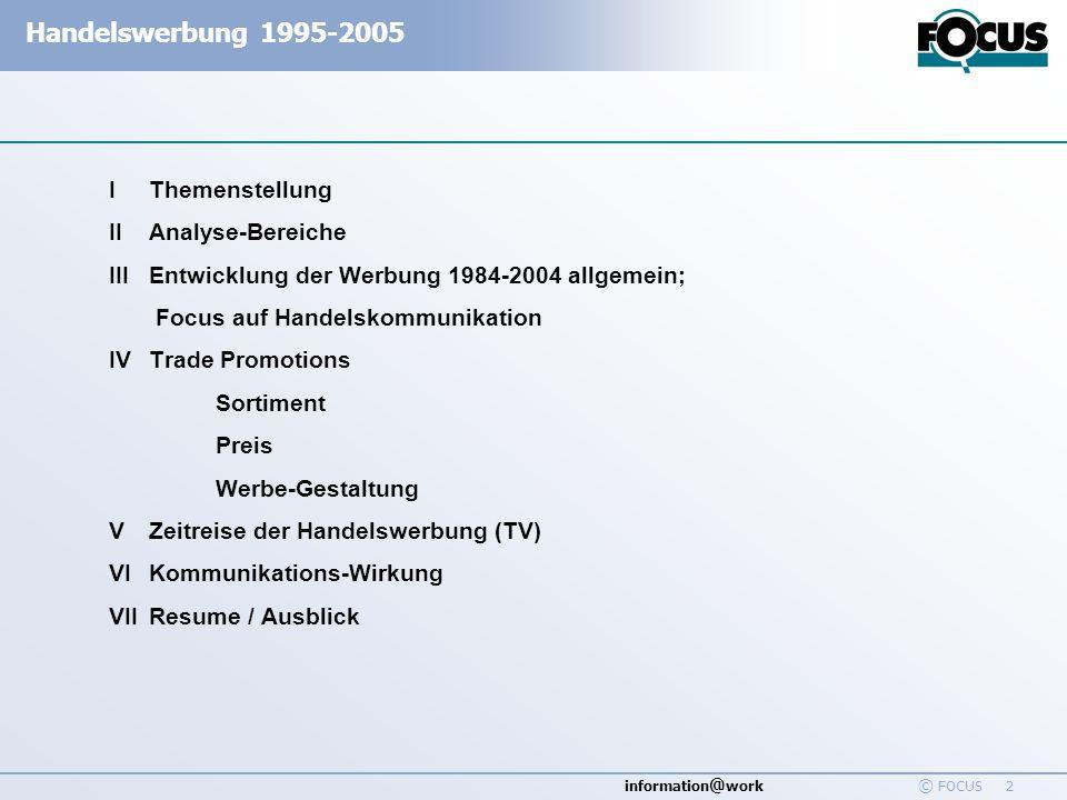 I Themenstellung II Analyse-Bereiche. III Entwicklung der Werbung 1984-2004 allgemein; Focus auf Handelskommunikation.